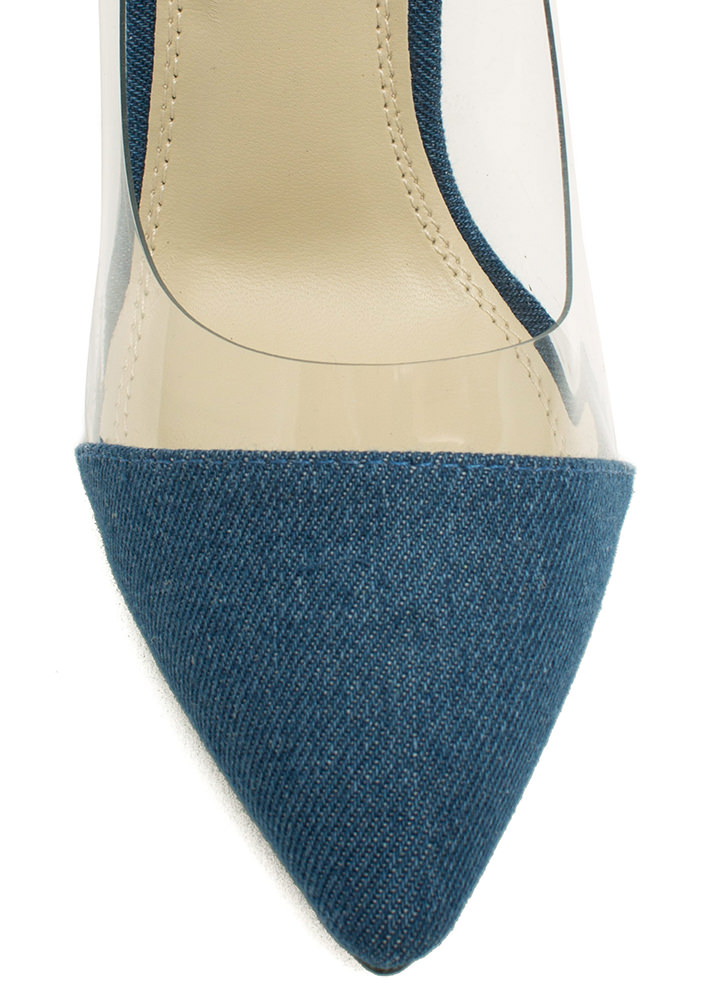 Make Myself Clear Pointy Denim Heels DENIM