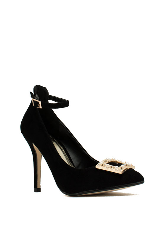 Hidden Edge Faux Pearl Buckle Heels BLACK
