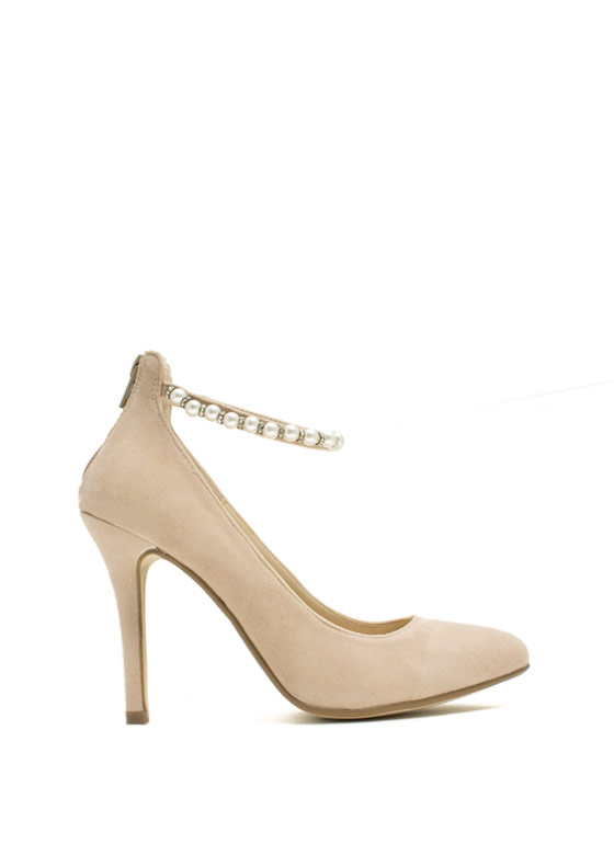 Pearly Chic Stiletto Heels NUDE