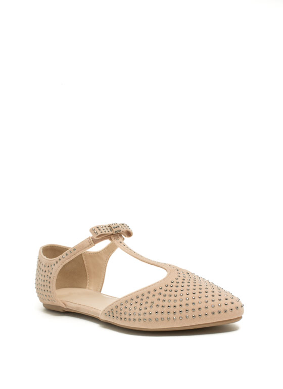 Sparkle 'N Bow T-Strap Flats NUDE