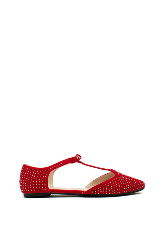 Sparkle 'N Bow T-Strap Flats RED