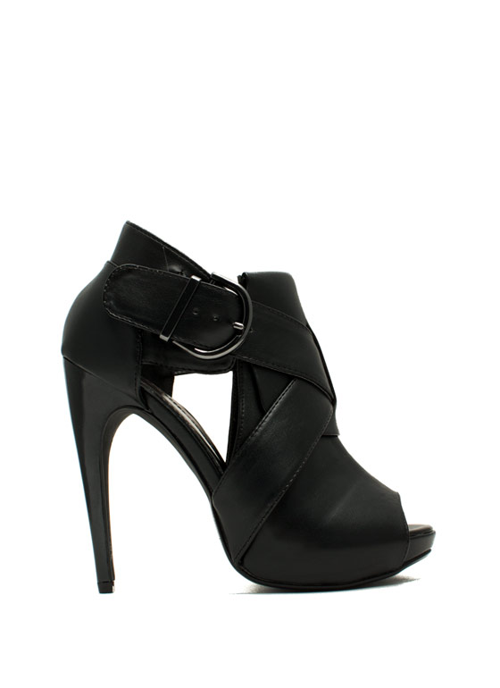 X Appeal Cut-Out Heels BLACK
