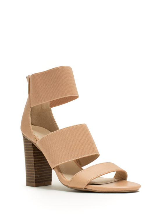 Strappy Elastic Chunky Heels NUDE