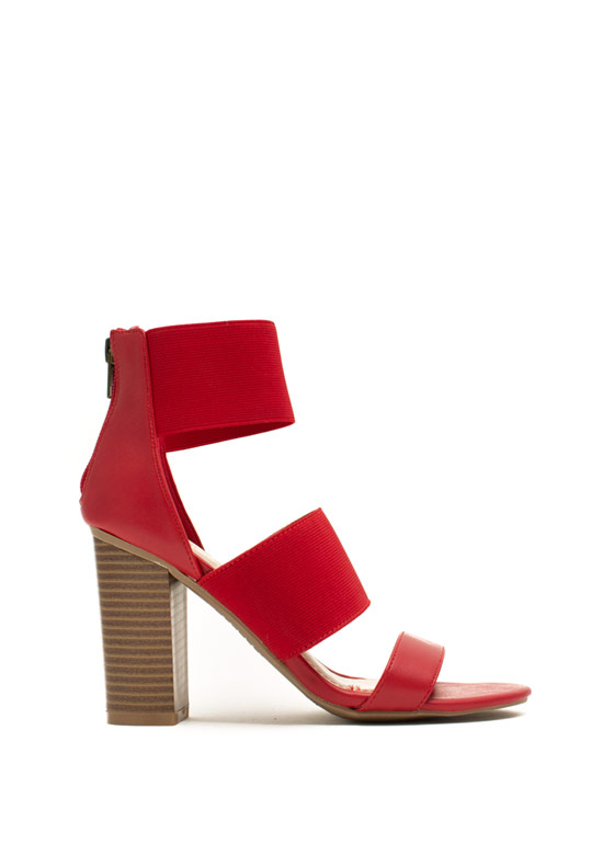 Strappy Elastic Chunky Heels RED