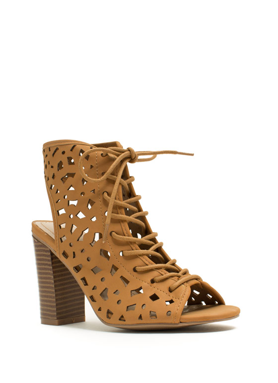 Geo Cut-Out Lace-Up Heels CHESTNUT