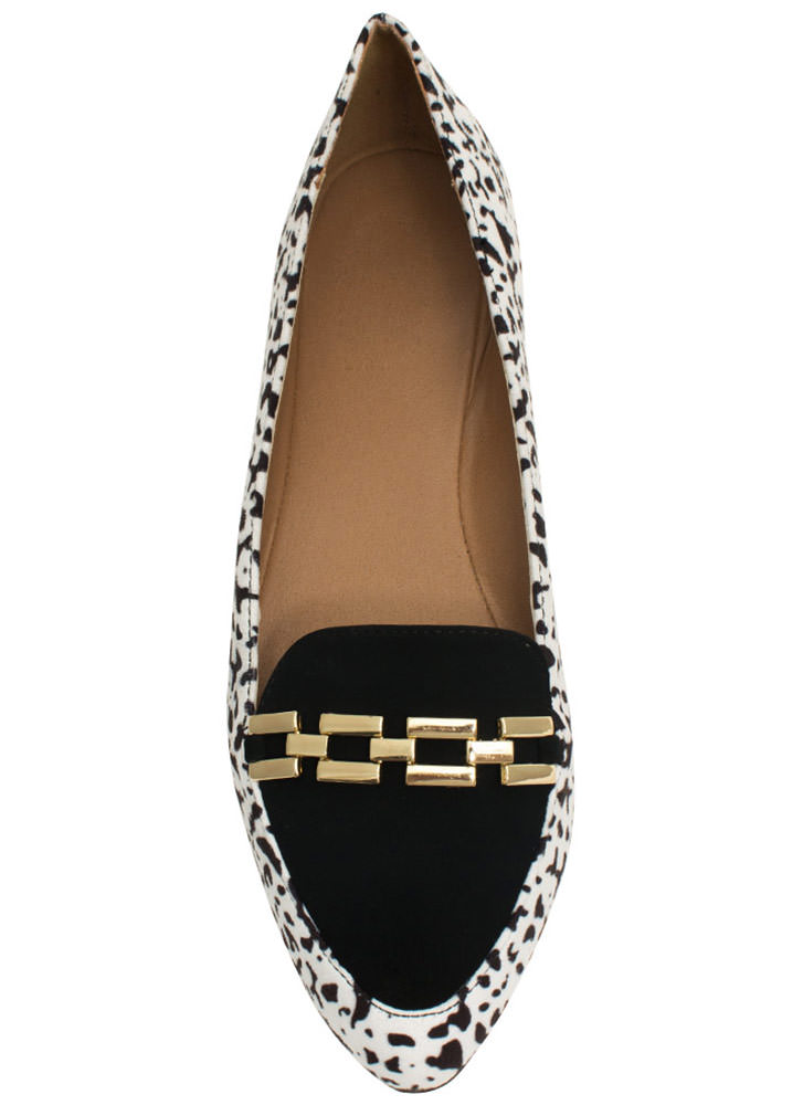 Raising The Bar Chain Trim Loafers BLACKWHITE