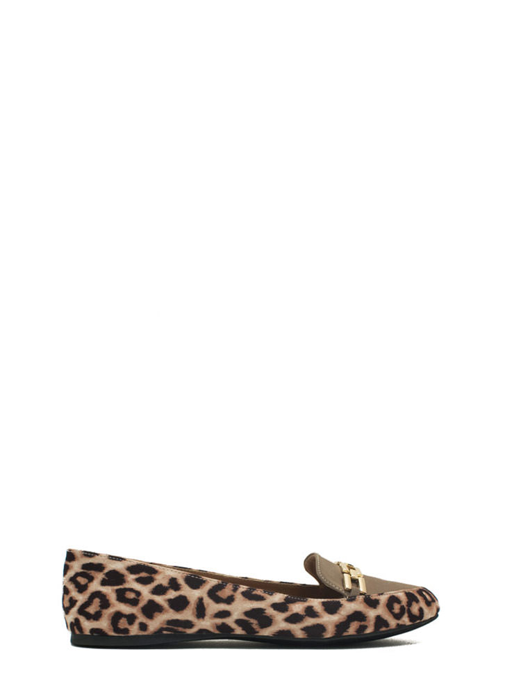 Raising The Bar Chain Trim Loafers CAMEL