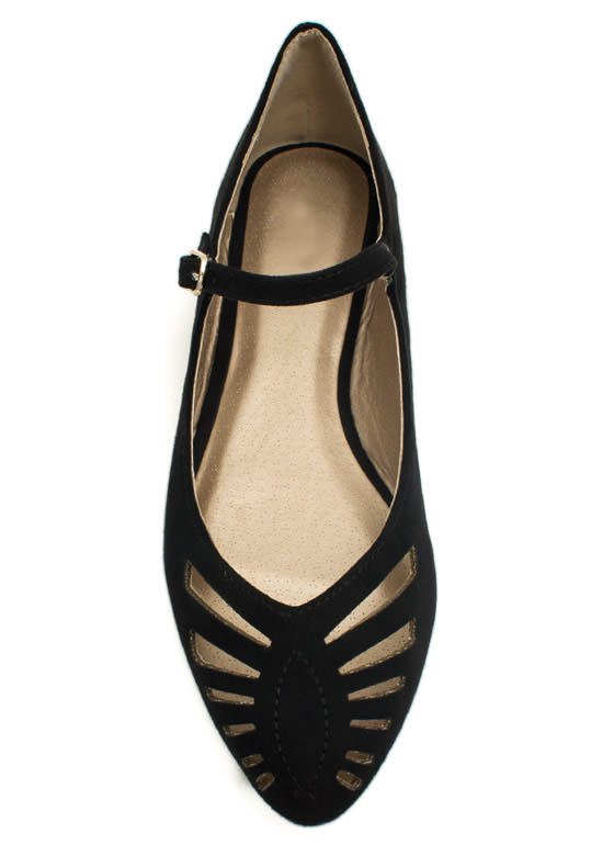 Slit Happens Cut-Out Mary Jane Flats BLACK