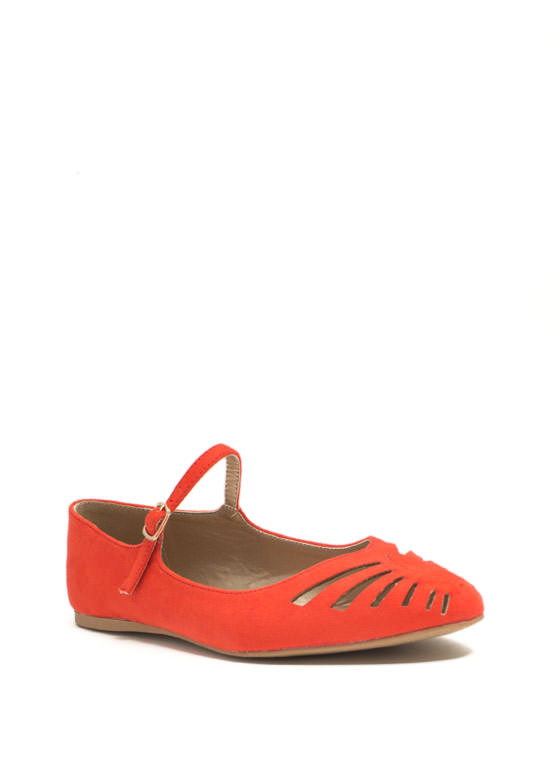 Slit Happens Cut-Out Mary Jane Flats TANGERINE