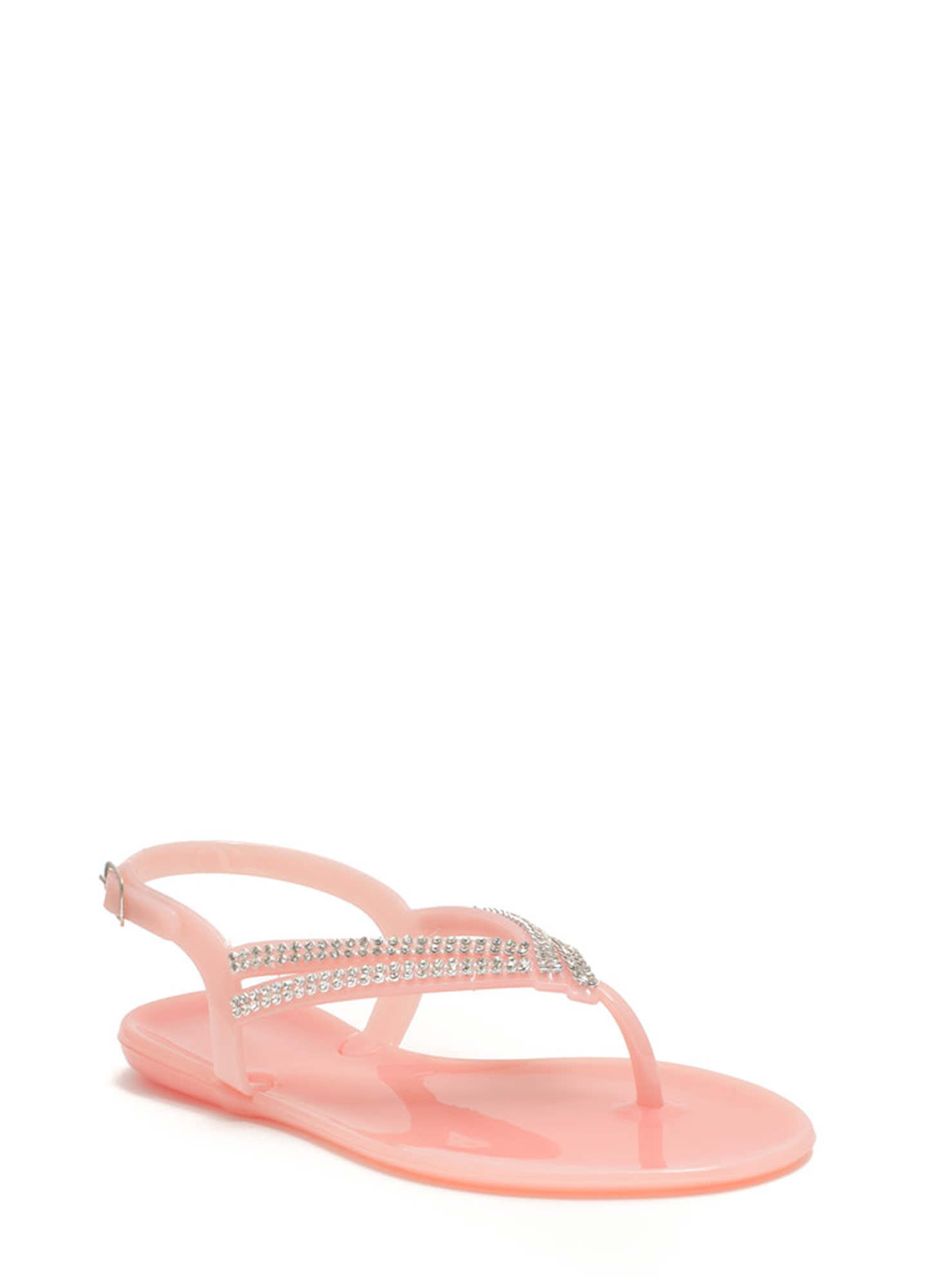 Glitzy V Strappy Jelly Sandals PINK
