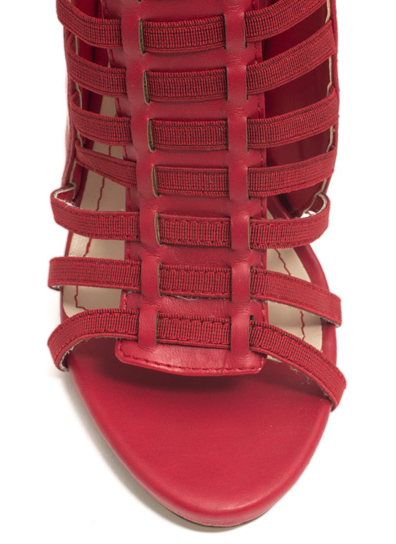 Caged Mixed Media Heels RED
