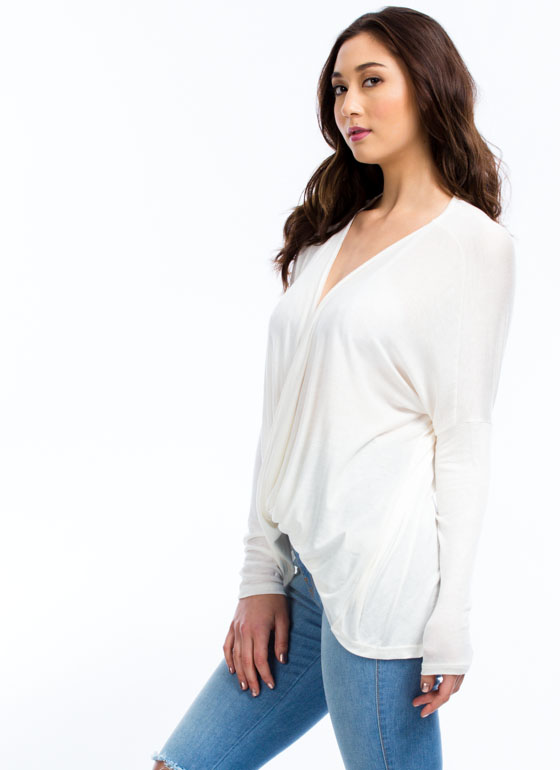 Get It Twisted Plunging Dolman Top IVORY