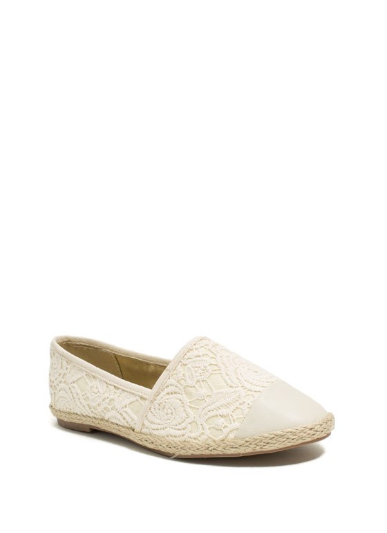 Embroidered Espadrille Flats BEIGE