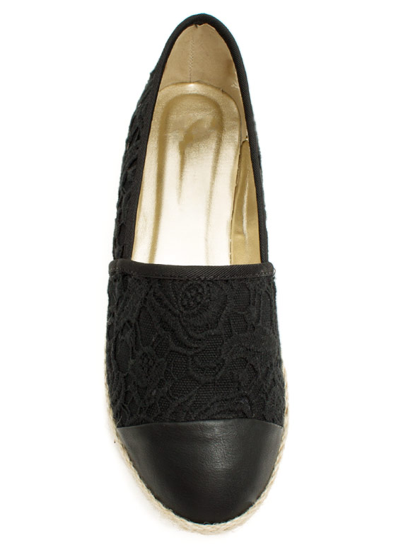 Embroidered Espadrille Flats BLACK