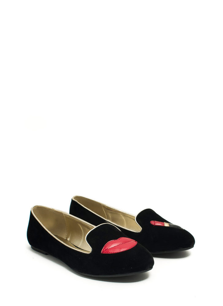 Pucker Up Lips 'N Lipstick Smoking Flats BLACK