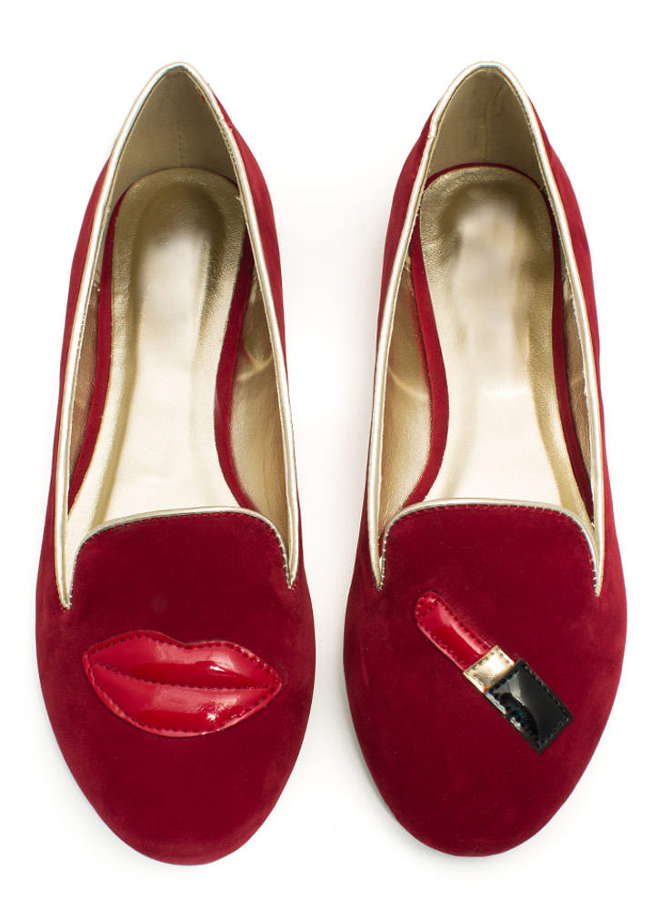 Pucker Up Lips 'N Lipstick Smoking Flats RED
