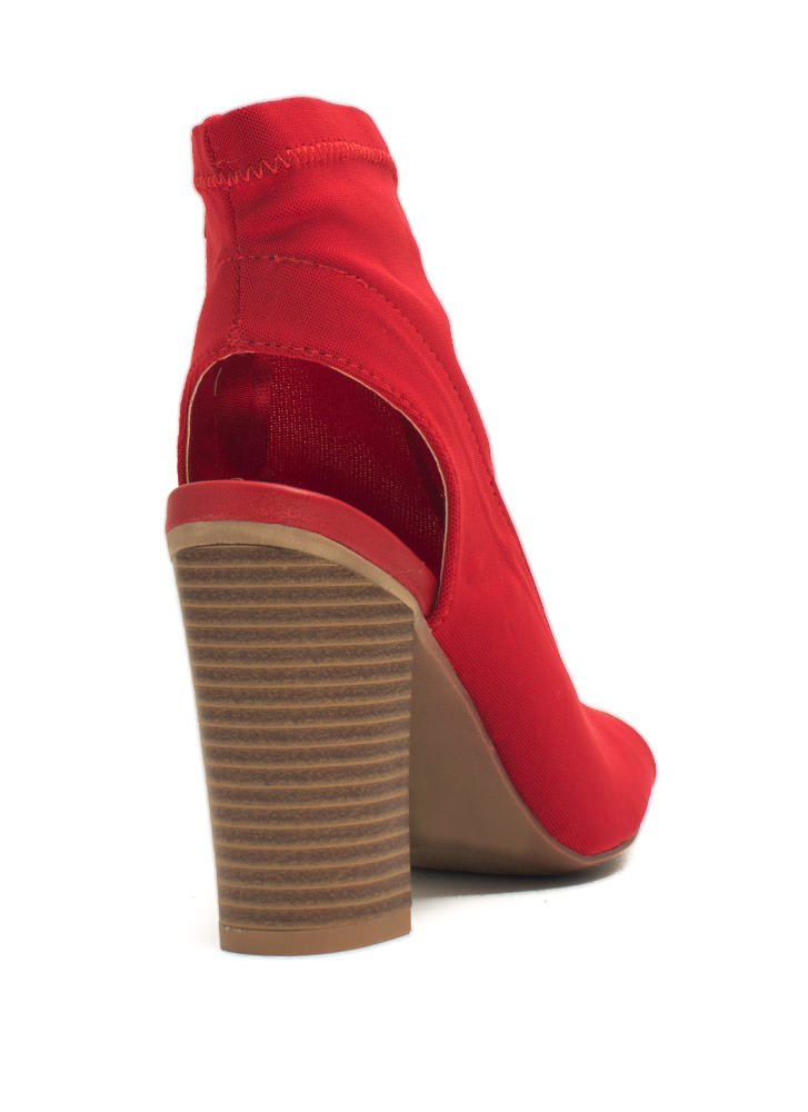 Solid Work Cut-Out Bootie Heels RED
