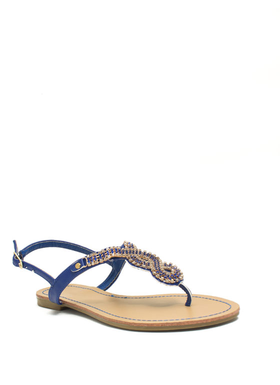 Embellished Figure 8 Sandals BLUE