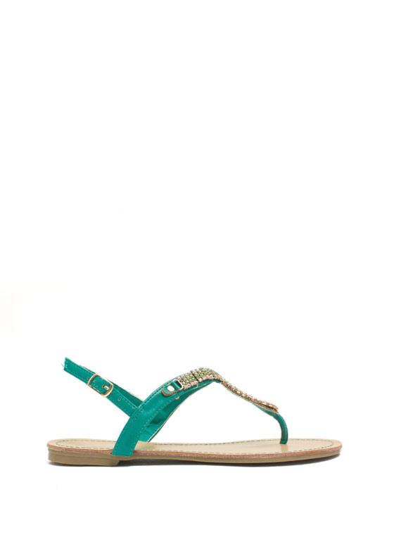 Embellished Figure 8 Sandals EMERALD