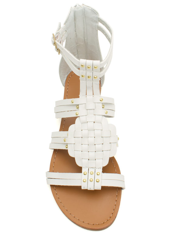 Woven Panel Gladiator Sandals WHITE