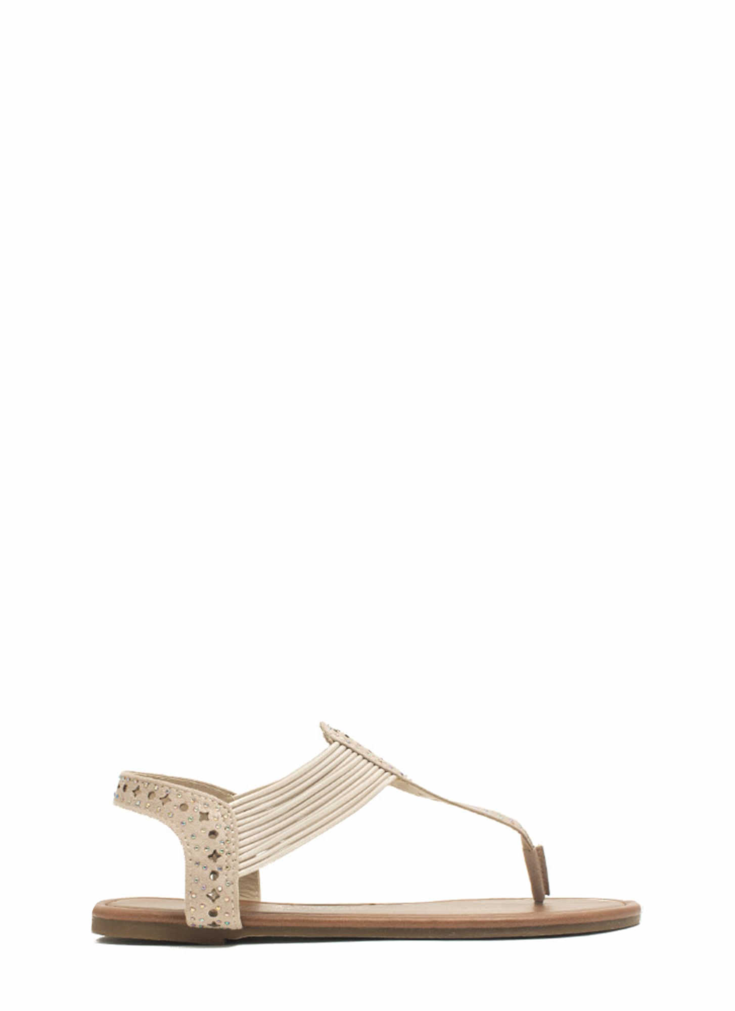 Embellished Cord T-Strap Sandals NUDE