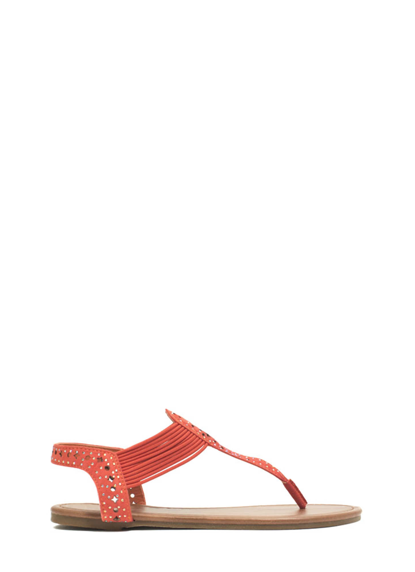Embellished Cord T-Strap Sandals ORANGE
