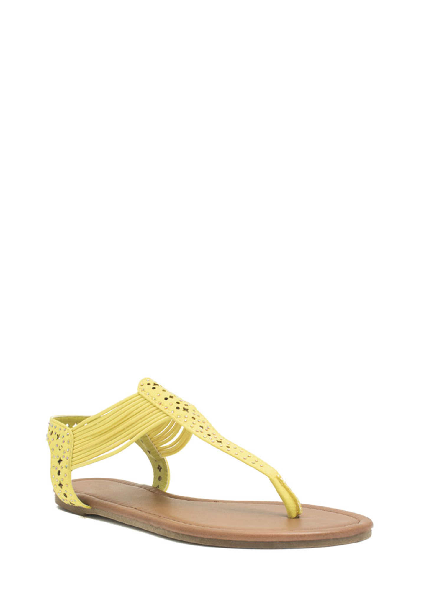 Embellished Cord T-Strap Sandals YELLOW