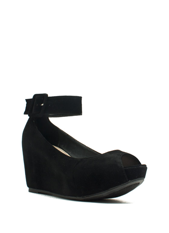True To Platform Ankle Cuff Wedges BLACK
