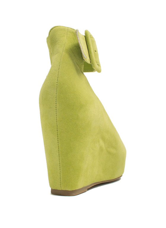 True To Platform Ankle Cuff Wedges LIME