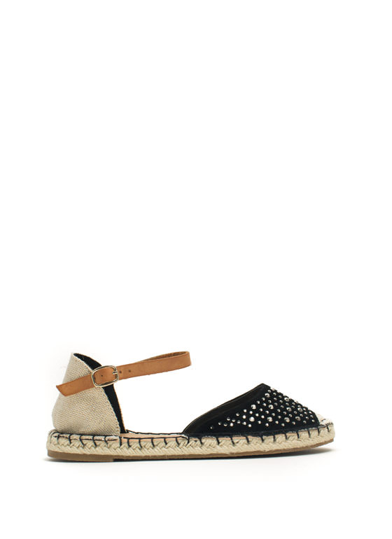 Hey Stud Strappy Espadrille Flats BLACK