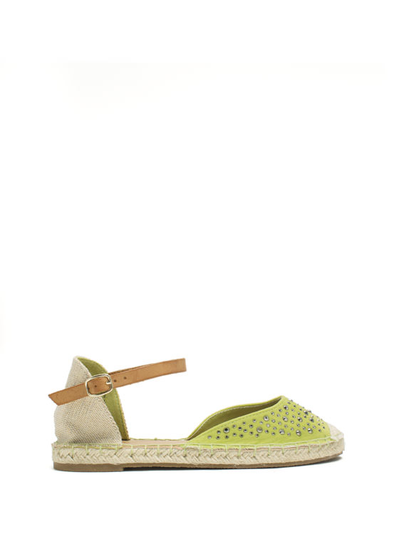 Hey Stud Strappy Espadrille Flats LIME (Final Sale)