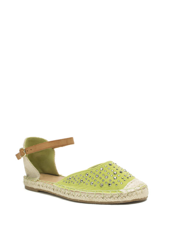 Hey Stud Strappy Espadrille Flats LIME
