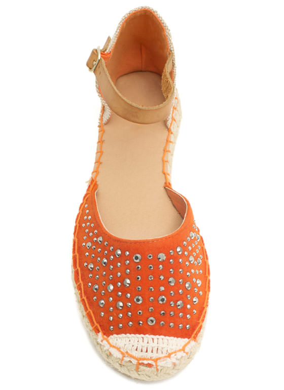 Hey Stud Strappy Espadrille Flats ORANGE
