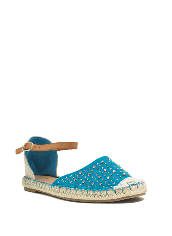 Hey Stud Strappy Espadrille Flats TURQUOISE