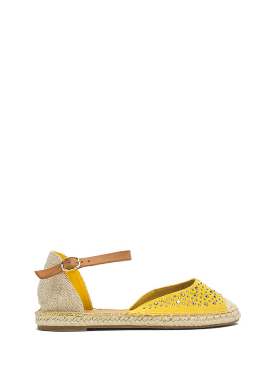 Hey Stud Strappy Espadrille Flats YELLOW
