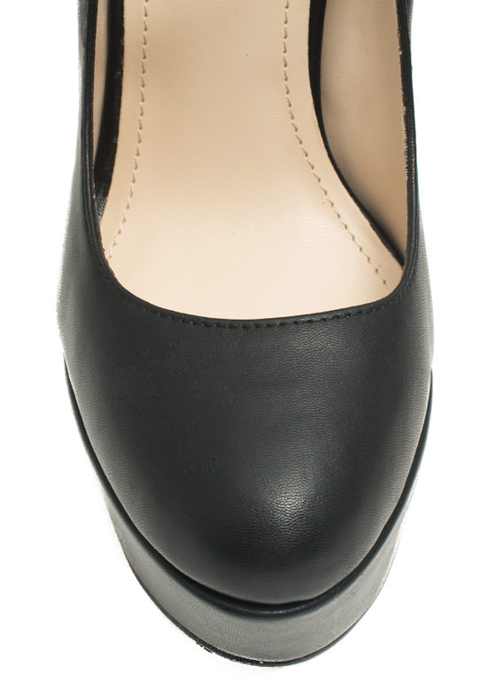 Go Mary Jane Faux Leather Platforms BLACK