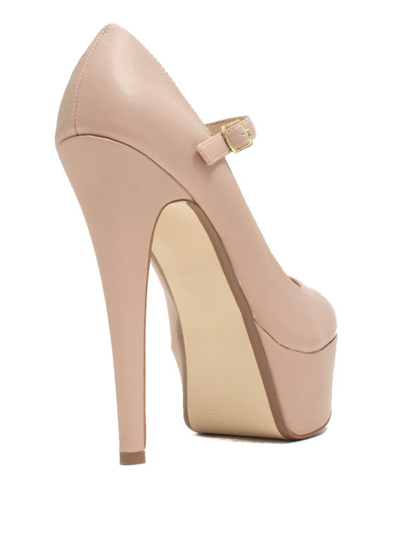 Go Mary Jane Faux Leather Platforms ROSE