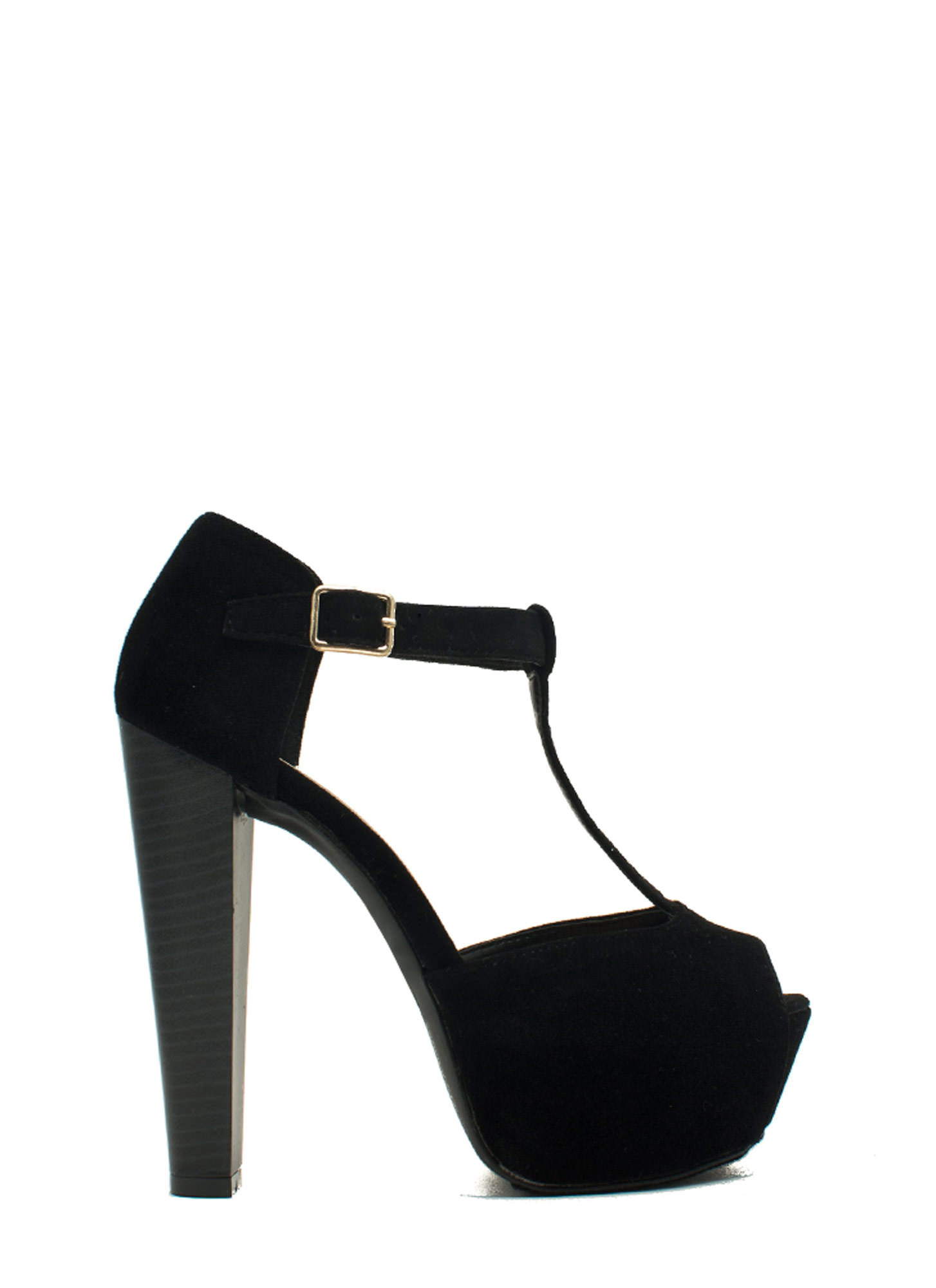 To The T-Strap Chunky Peep-Toe Heels BLACK