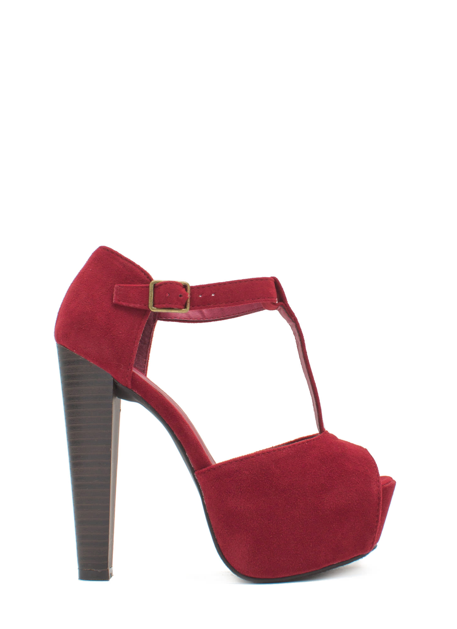 To The T-Strap Chunky Peep-Toe Heels RED