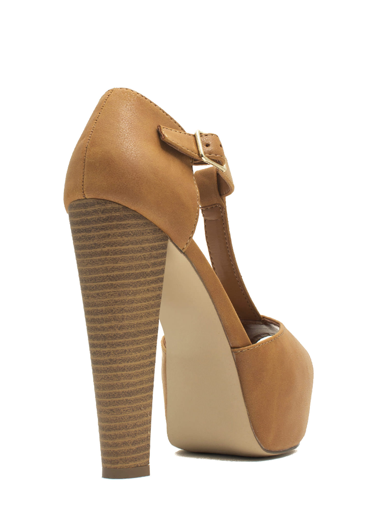 To The T-Strap Chunky Peep-Toe Heels TAN