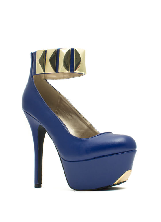 Tile Me About It Ankle Cuff Platforms ROYAL