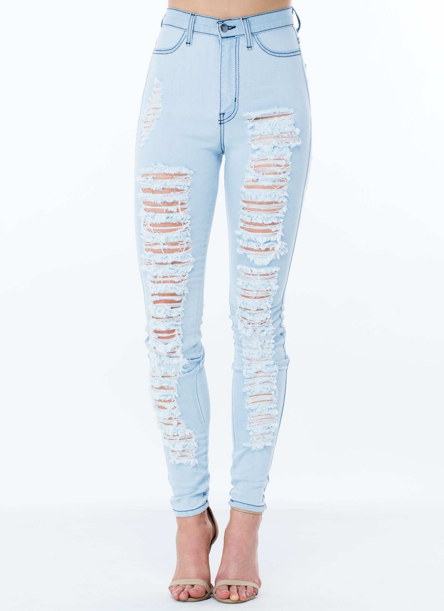 Destruction Zone Skinny Jeans LTBLUE