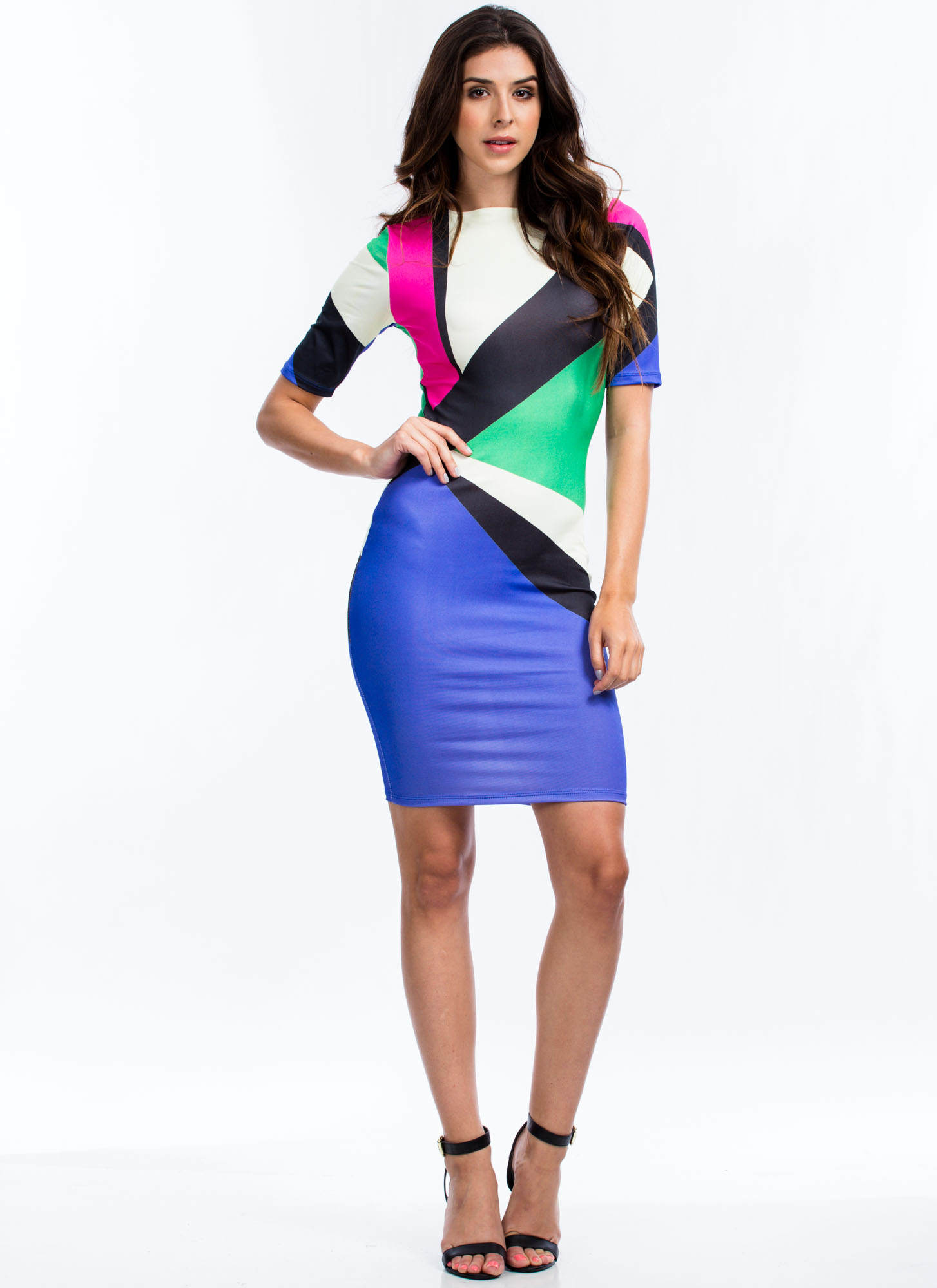 The Modernist Colorblock Panel Dress PINKPURPLE