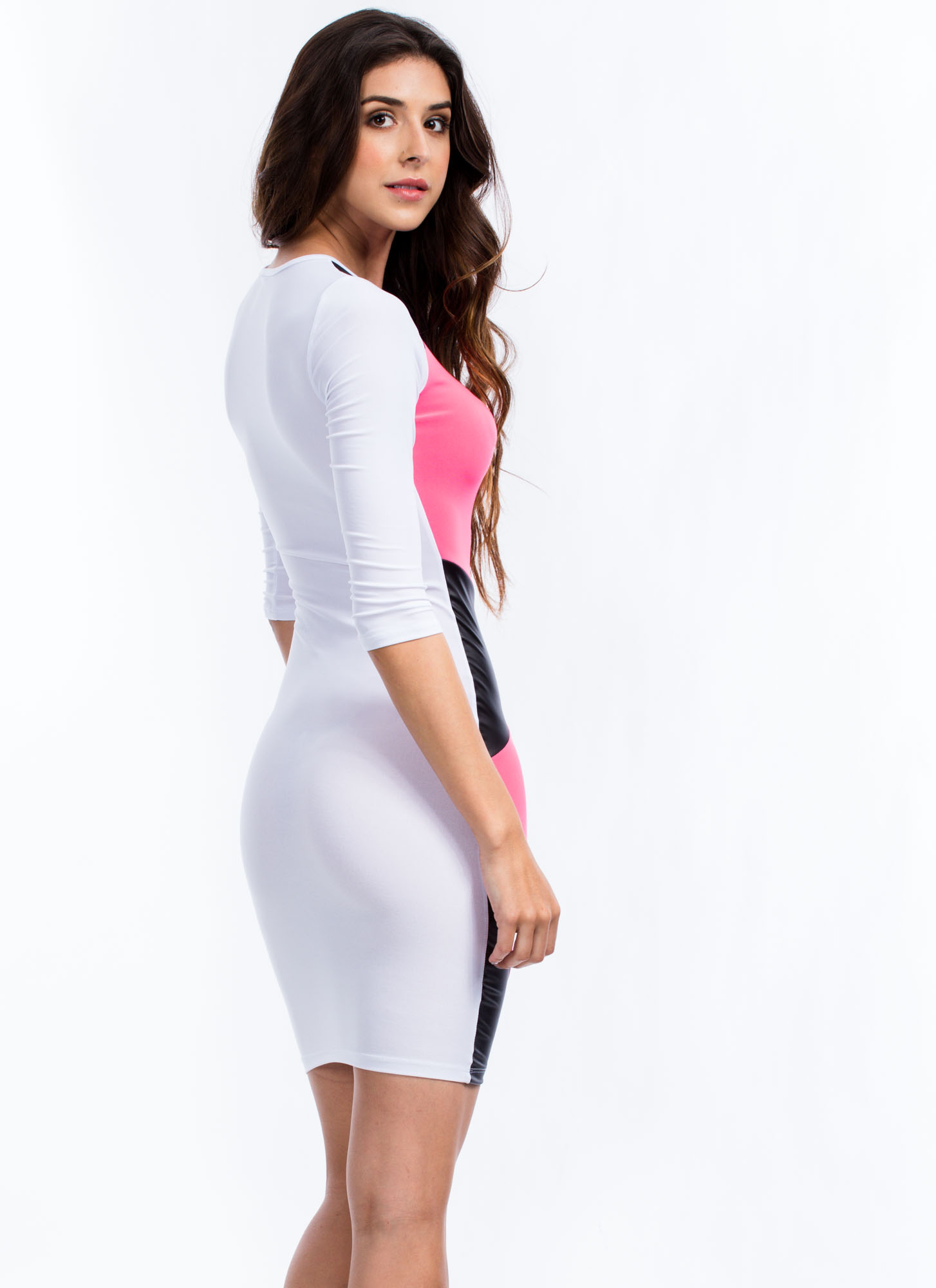 Highlight Me Colorblock Bodycon Dress NEONPINK