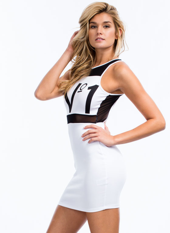 No 1 Mesh Cut-Out Dress WHITE