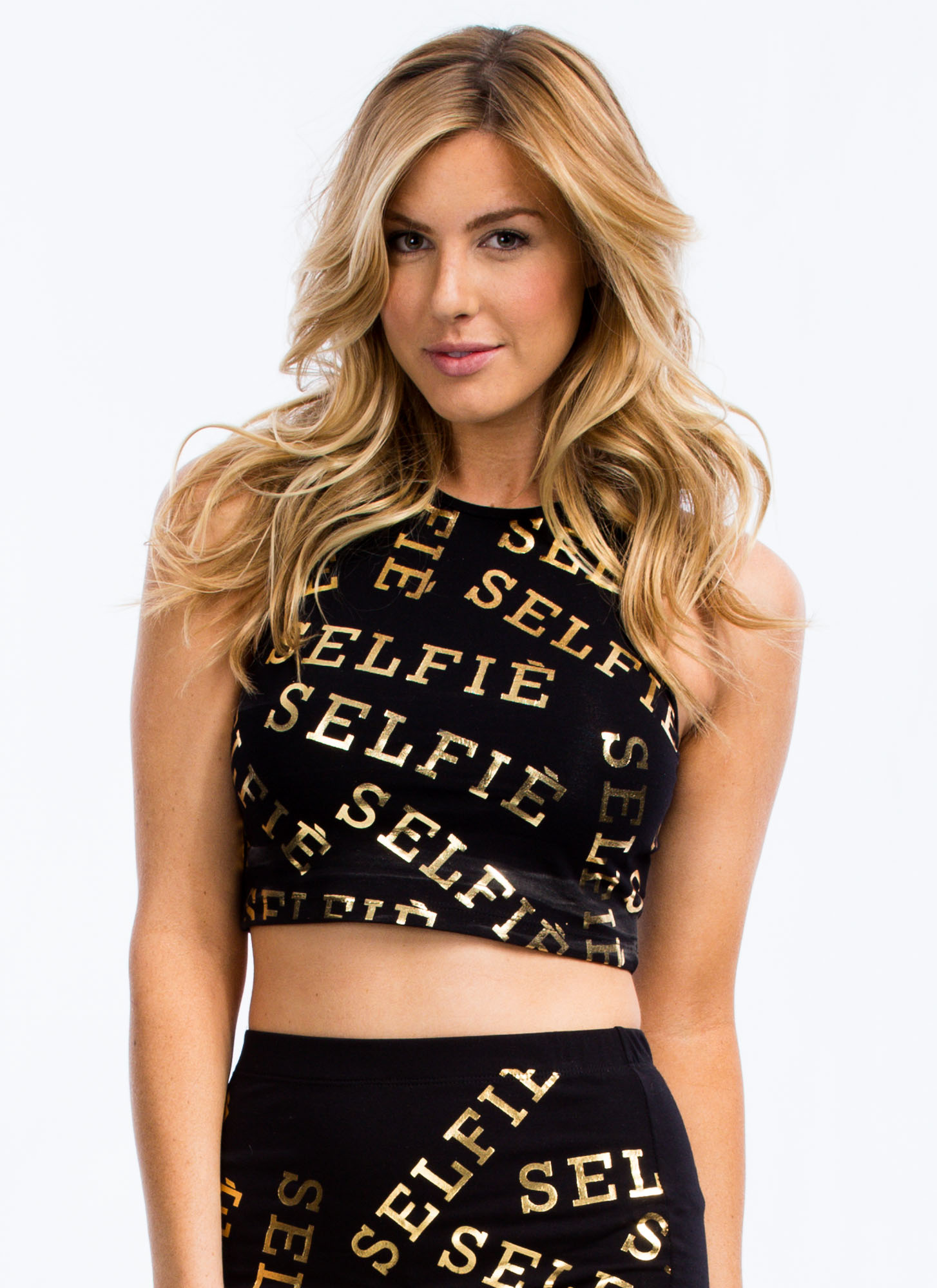 Let Me Take A Selfie Cropped Tank BLACK