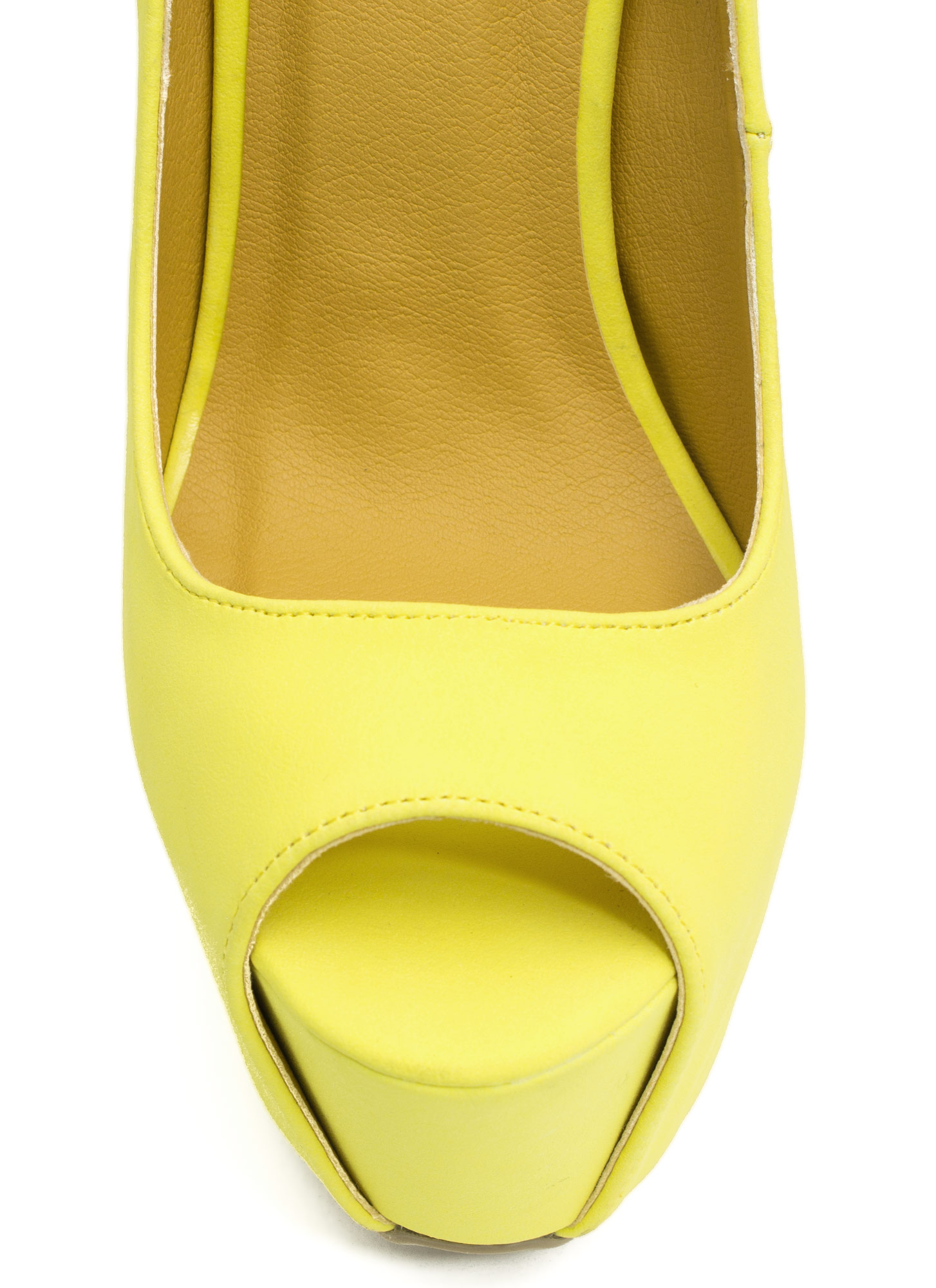 Peep-Toe Show Faux Leather Heels LEMON
