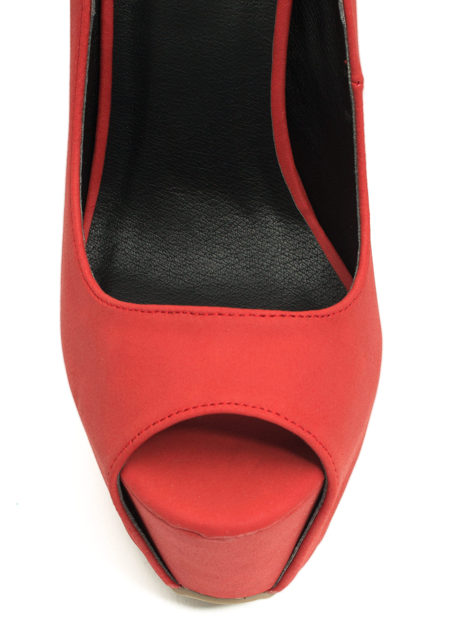 Peep-Toe Show Faux Leather Heels RED