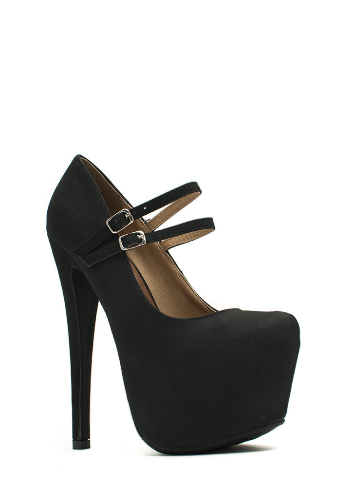 She's Back Platform Mary Jane Heels BLACK