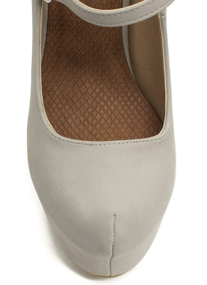 She's Back Platform Mary Jane Heels GREY